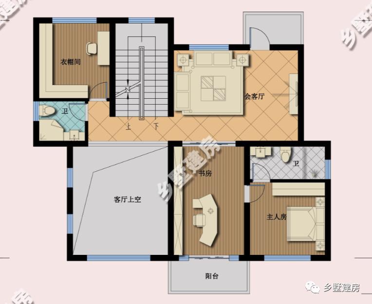 一层平面设计图:设有一间老人房,使人圆桌大餐厅,除了客厅厨房还配置