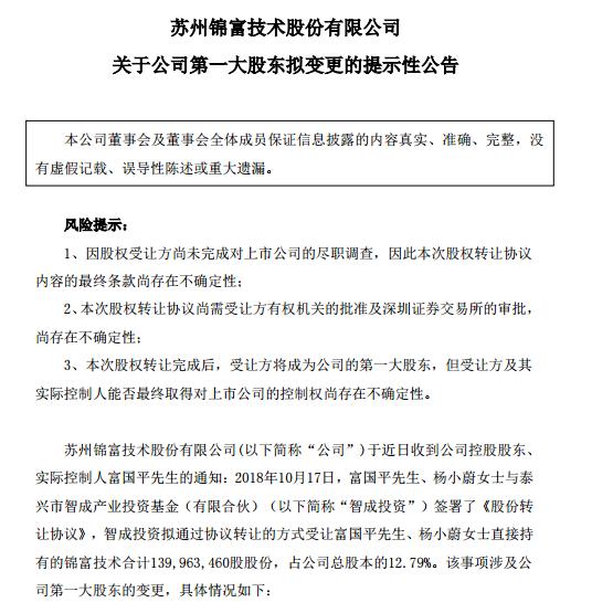 博天堂线上娱乐场锦富技术大股东变更 颓势能否挽救?