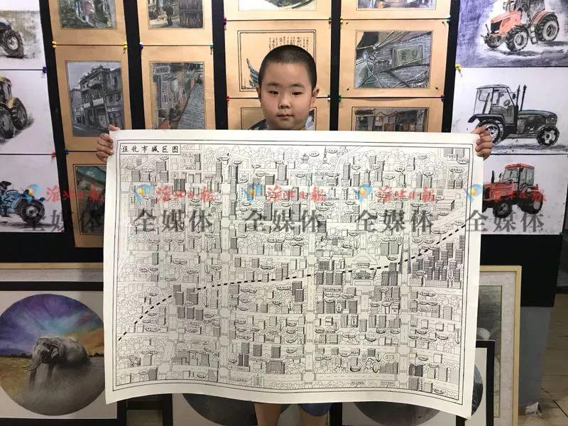 淮北小学生手绘《淮北市城区图》,超萌