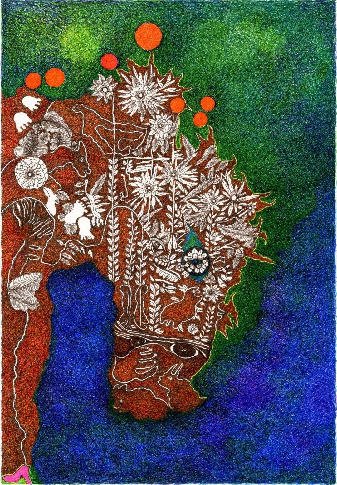 《马》 26x37.5 —纸本彩色针管笔手绘