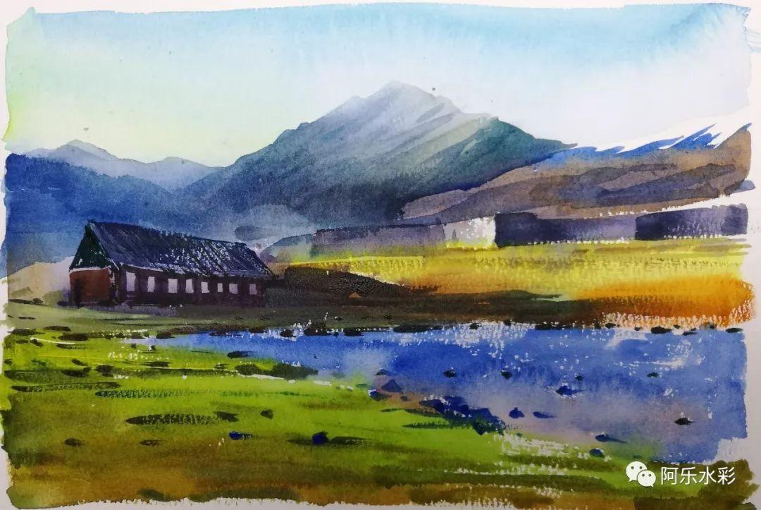 秋日草原,水彩风景中浓郁色调和强烈光感的表现