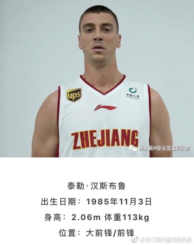 浙江官宣更换大外签汉斯布鲁 上赛季场均近21+10