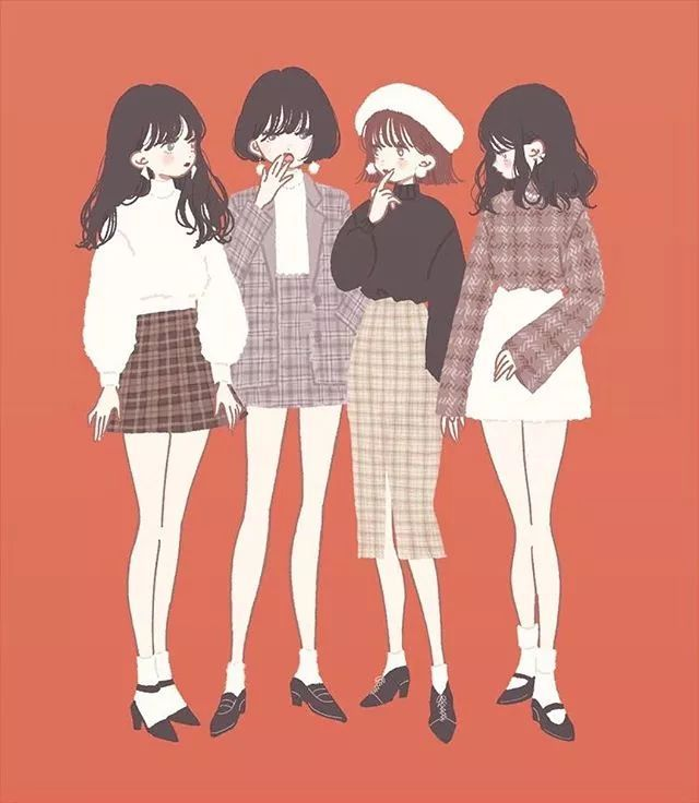 日本博主手绘不同风格的闺蜜穿搭超好看