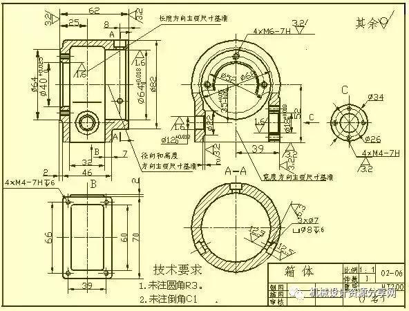 在标注尺寸方面,通常选用设计上要求的轴线、重要的安装面、接触面(或加工面)、箱体某些主要结构的对称面(宽度、长度)等作为尺寸基准。对于箱体上需要切削加工的部分,应尽可能按便于加工和检验的要求来标注尺寸。5.零件常见结构的尺寸注法常见孔的尺寸注法(盲孔、螺纹孔、沉孔、锪平孔);倒角的尺寸注法。1)盲孔2)螺纹孔3)沉孔