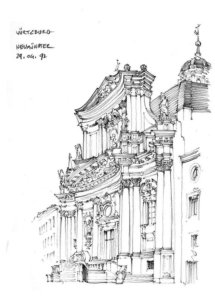 绘画素材 | 建筑速写手绘稿,参考练习