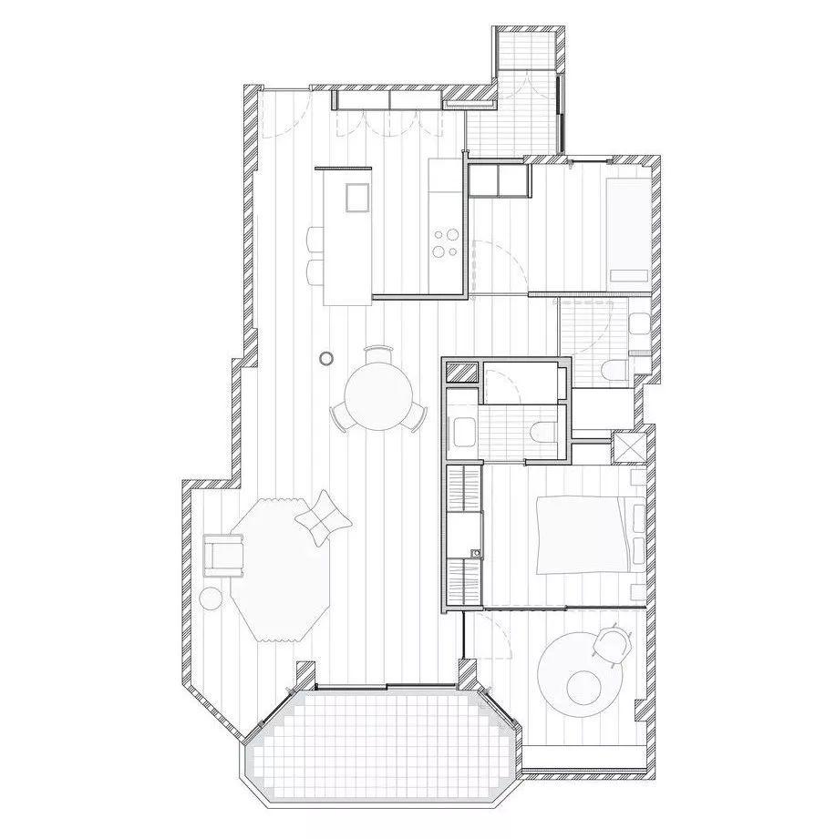 第一个 l 型结构朝向入口 包含了厨房区域 另一个 l 型结构是两间卧室图片