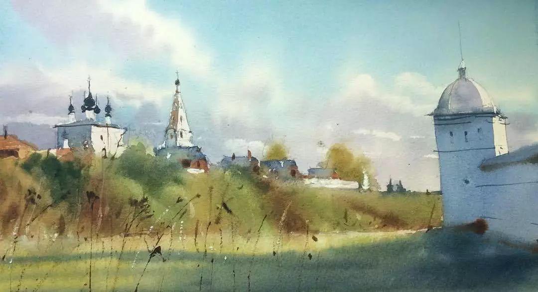 俄罗斯水彩画家的建筑风景画,美得让人想唱:爱就像蓝天白云晴空万里