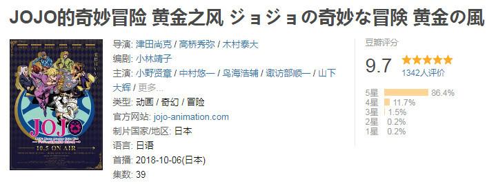 十月新番:豆瓣评分最高的5部,JOJO喜获9.7分,刀剑无缘入围! 作者: 来源:老白与动漫