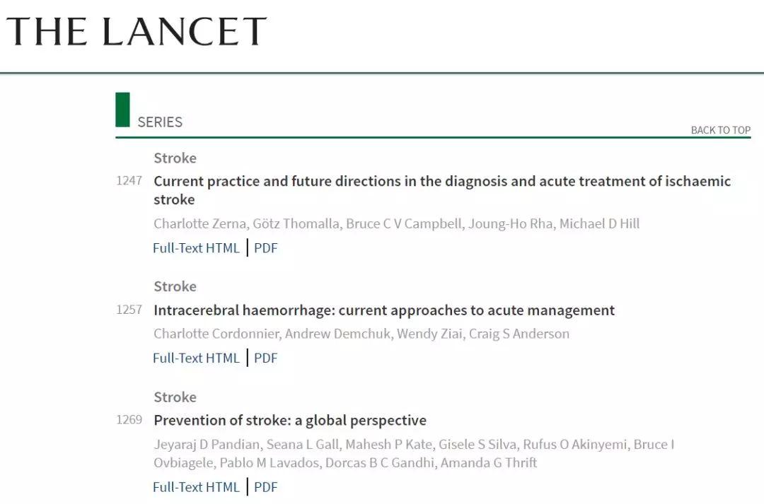 柳叶刀卒中专题,3篇综述聚焦卒中诊治和预防