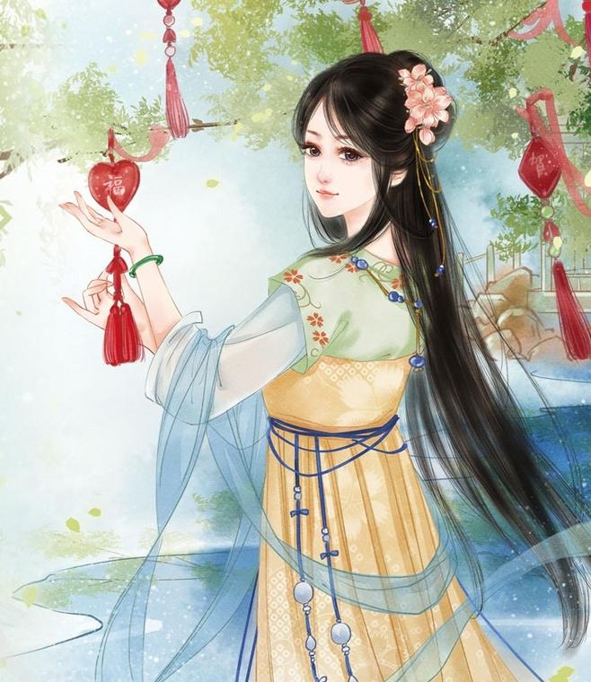 古风手绘画:皎若秋月,犹如出水芙蓉的古风年轻女子.