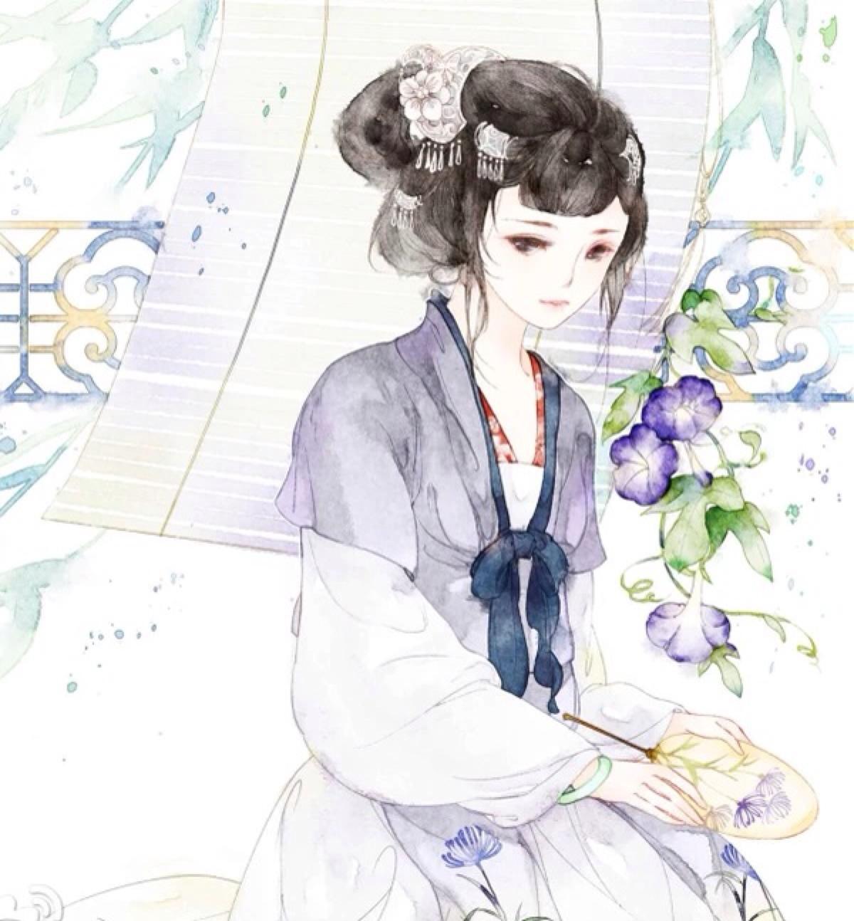 古风手绘画:温柔高雅,气质十足的美少女.