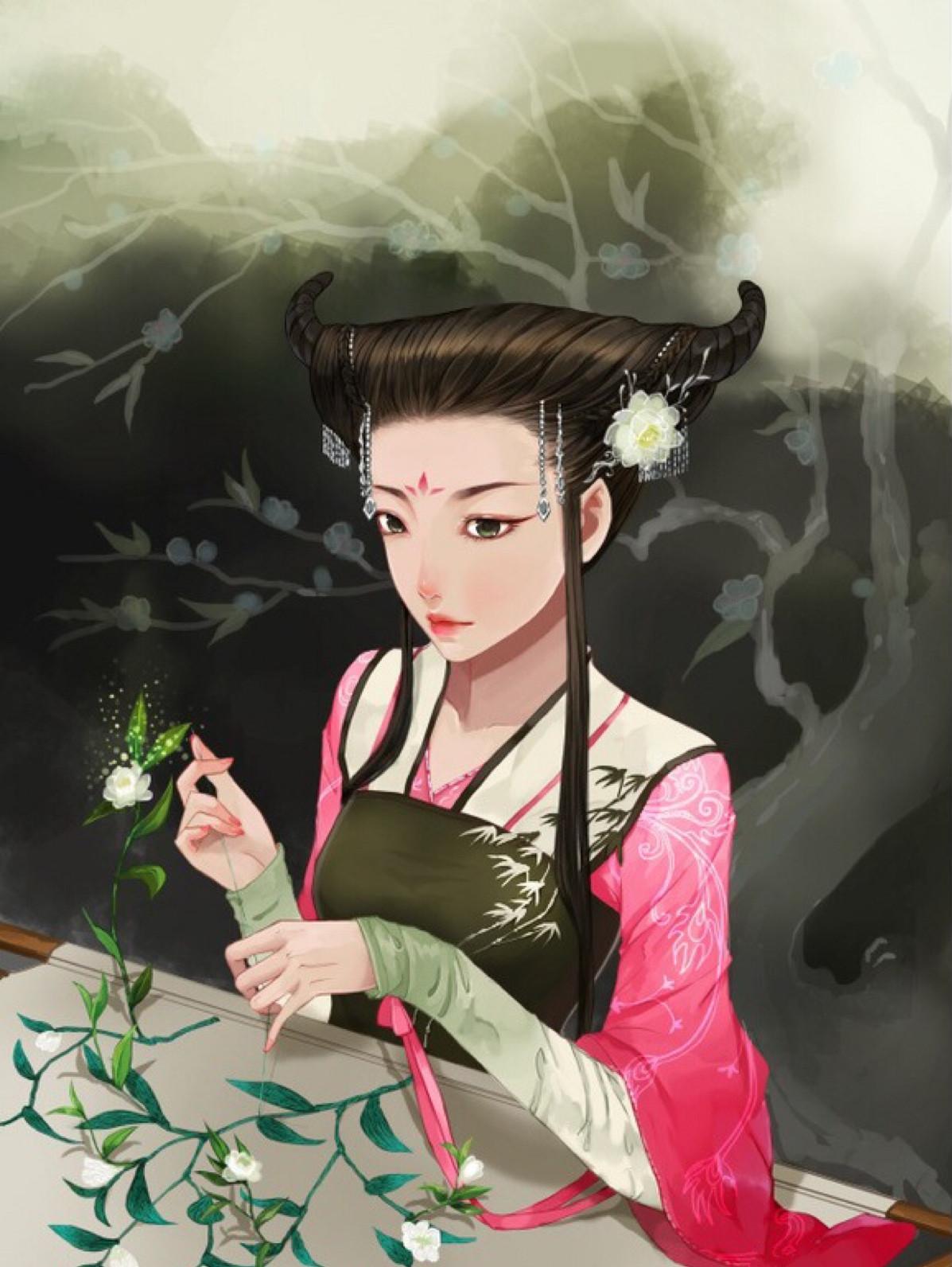 古风手绘插画,花枝招展,美丽动人的古风美人!
