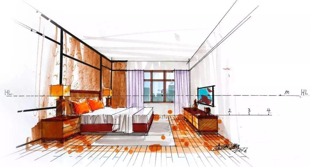 室内手绘马克笔表现效果图_颜色