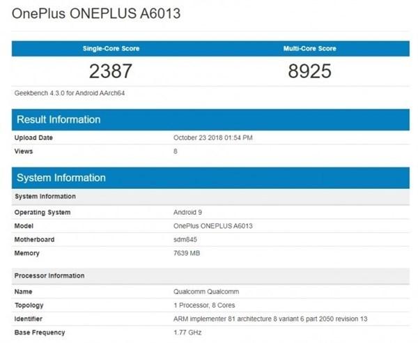一加6T现身GeekBench:高通骁龙845+8GB运存