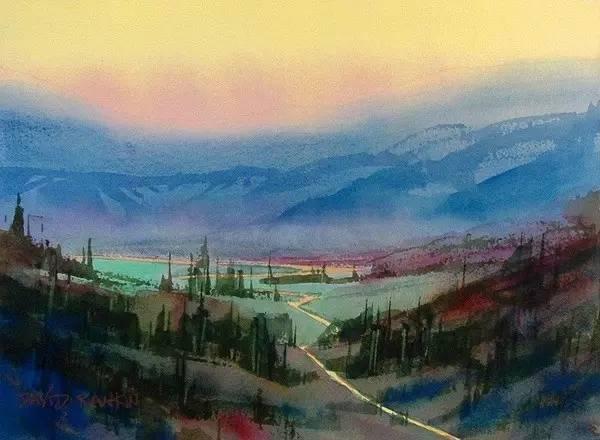 他的家和当地风景都成了画作,幸福和快乐永恒留在艺术家的水彩画中