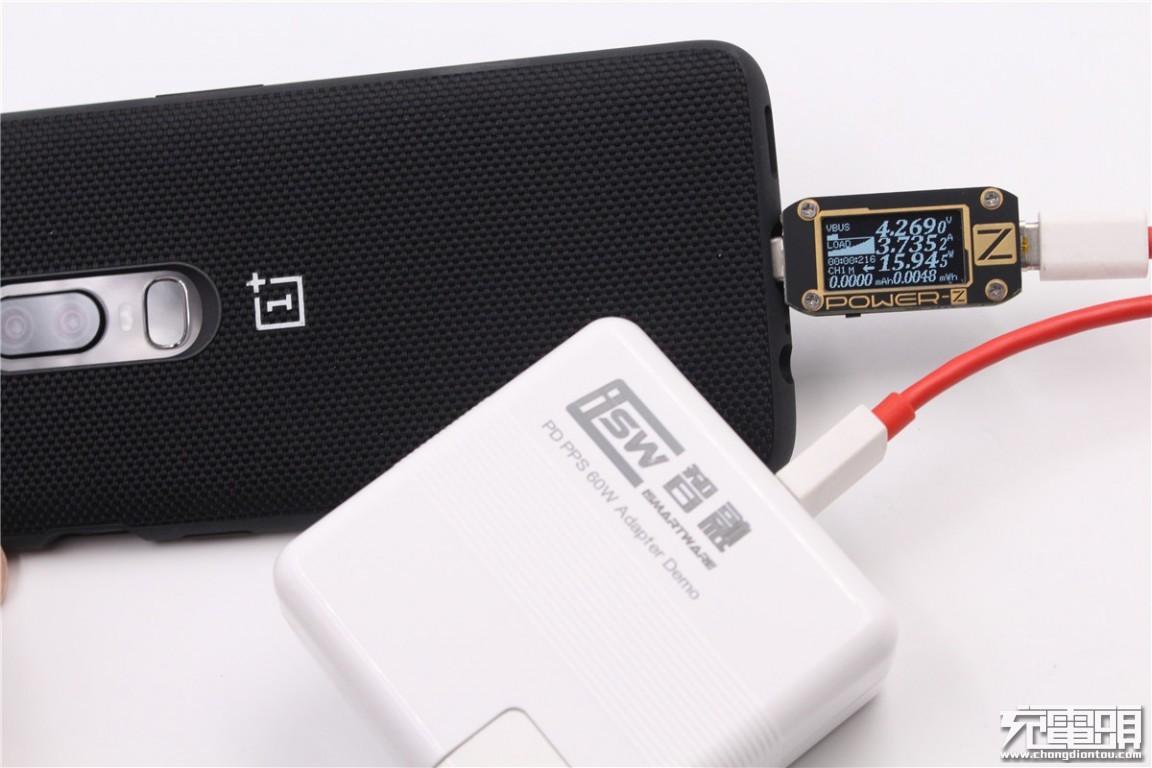 给一加6手机充电,电压约4.27v,电流约3.73a,功率约为15.