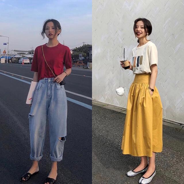 118斤以上女生的日常穿搭,短袖搭配背带牛仔短裤,显高又显瘦