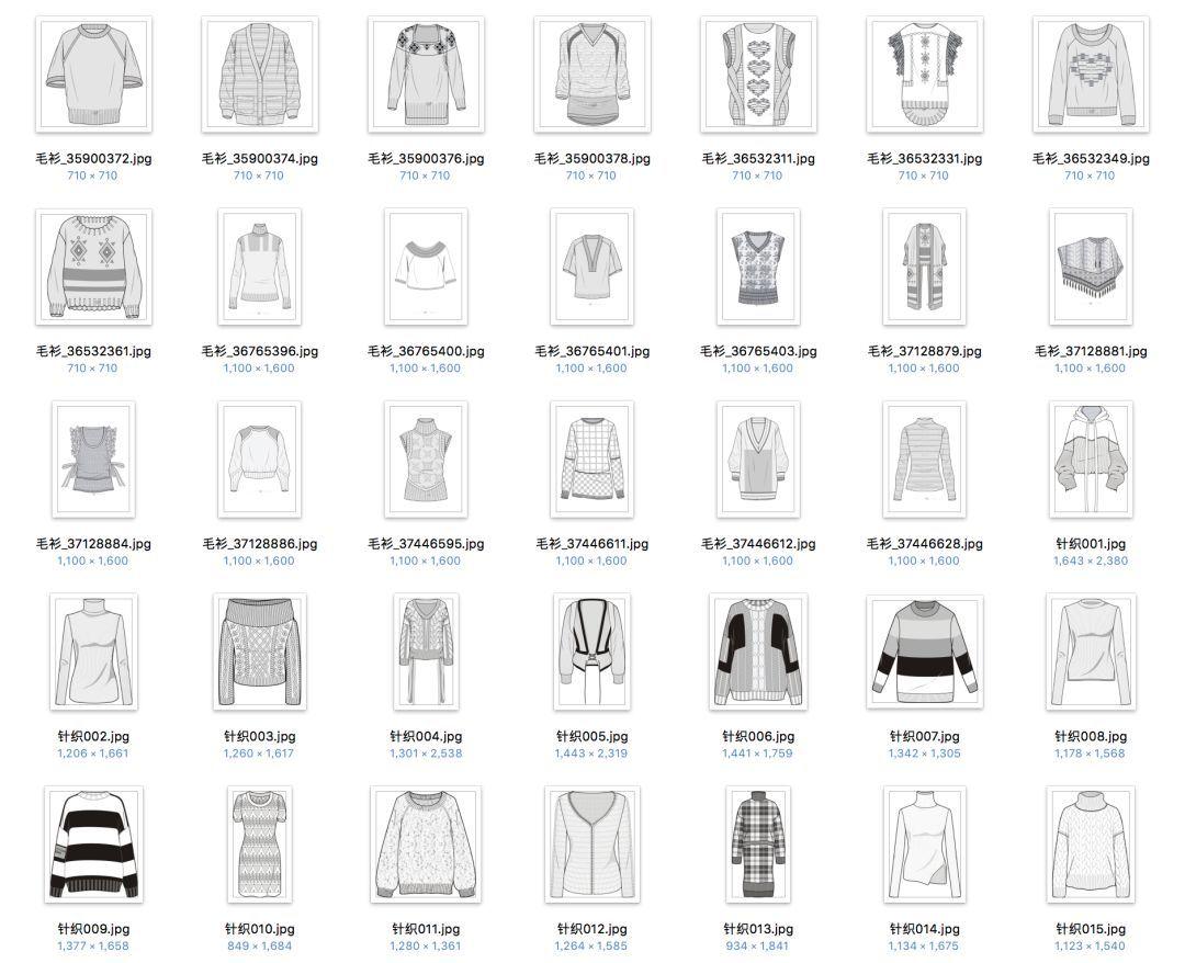 女装款式图合集礼包01 | 女士风衣,小外套,西装,衬衫,羽绒服,针织毛衫