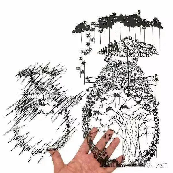 手绘画 大树 线条