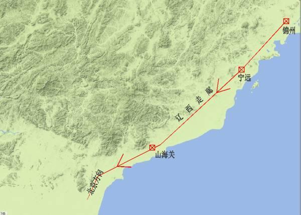 關寧錦防線:由錦州,寧遠(今遼寧興城),山海關組成,依次分布于遼西走廊圖片