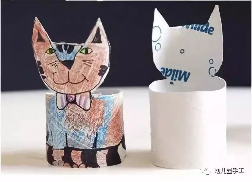 站立的小猫咪手工制作,只要在卫生纸卷筒上画出小猫