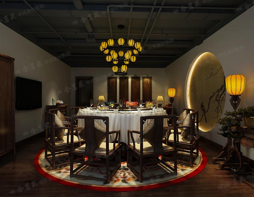 中式饭店装修效果图 营造出一种私密又惬意的空间氛围