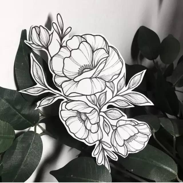 素花纹身素材 简约 素雅图片