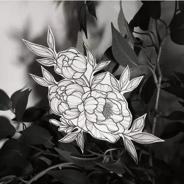 素花纹身素材 简约 素雅