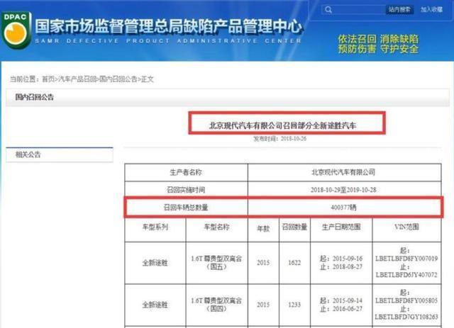 机油门波及北京现代途胜召回40万辆销量回暖后再度遭遇危机_七星