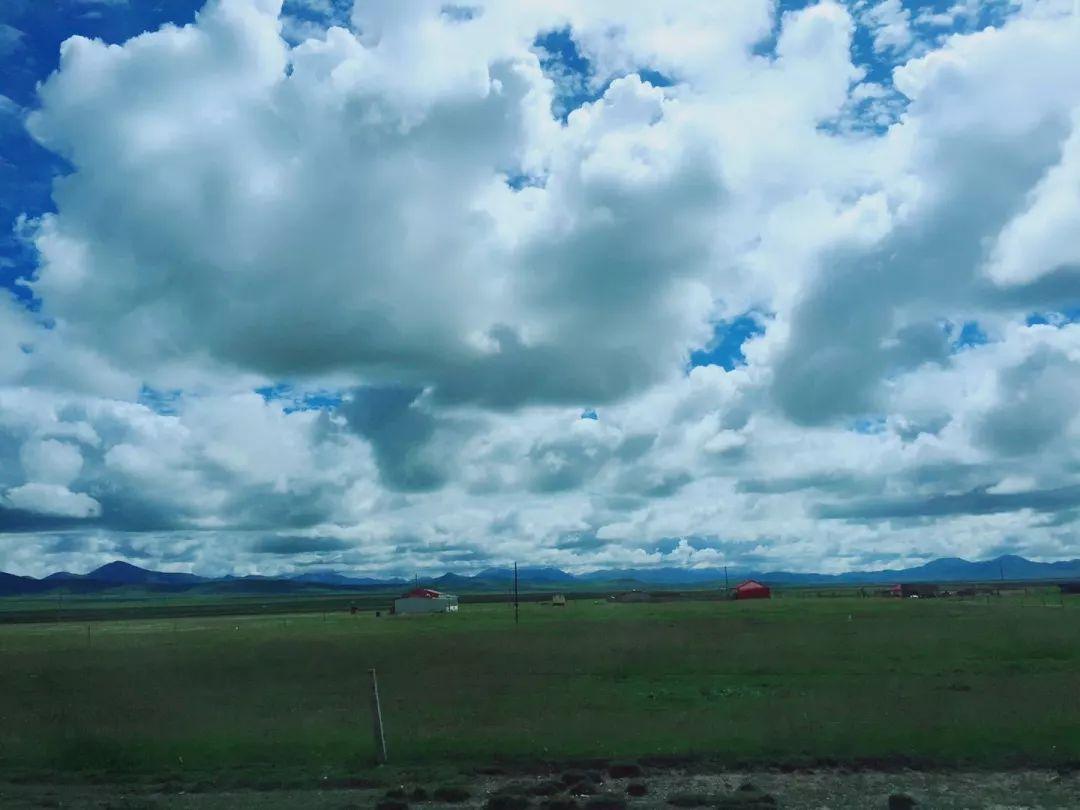 一路风景美不盛收,大片大片的云朵那么低,好像伸手就能摸到一般.