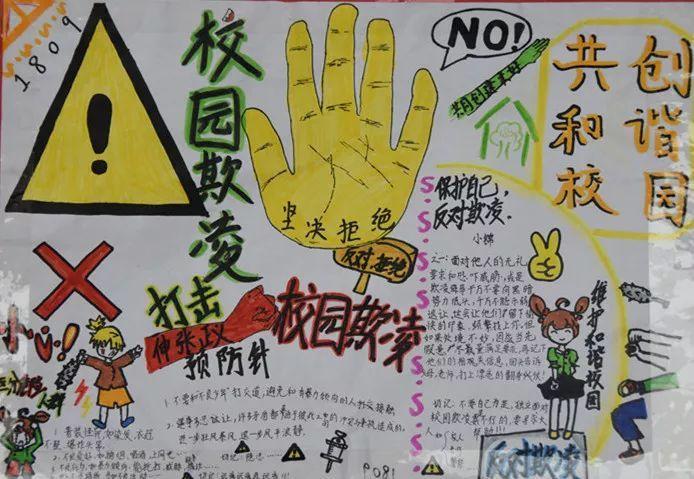 """""""反对校园欺凌,共创和谐校园""""手抄报展示图片"""