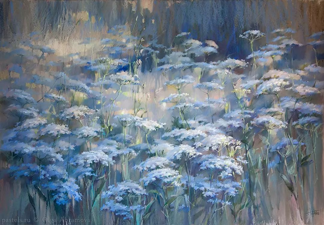 唯美立体,仙气十足 olga 喜欢画风景,花卉, 颜色过度柔和,笔触干净