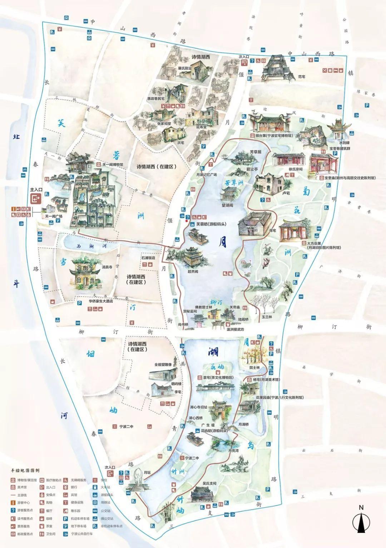 天一阁·月湖景区手绘地图