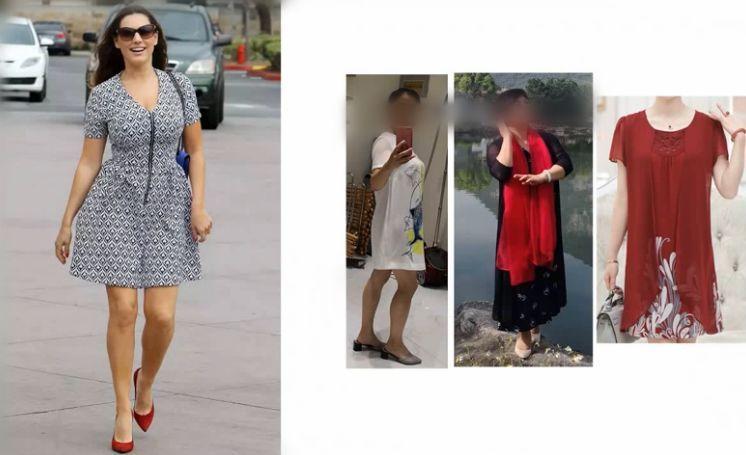 左:连衣裙廓形收腰,面料不软塌,领口延长,表达出了她的年轻感和女人图片