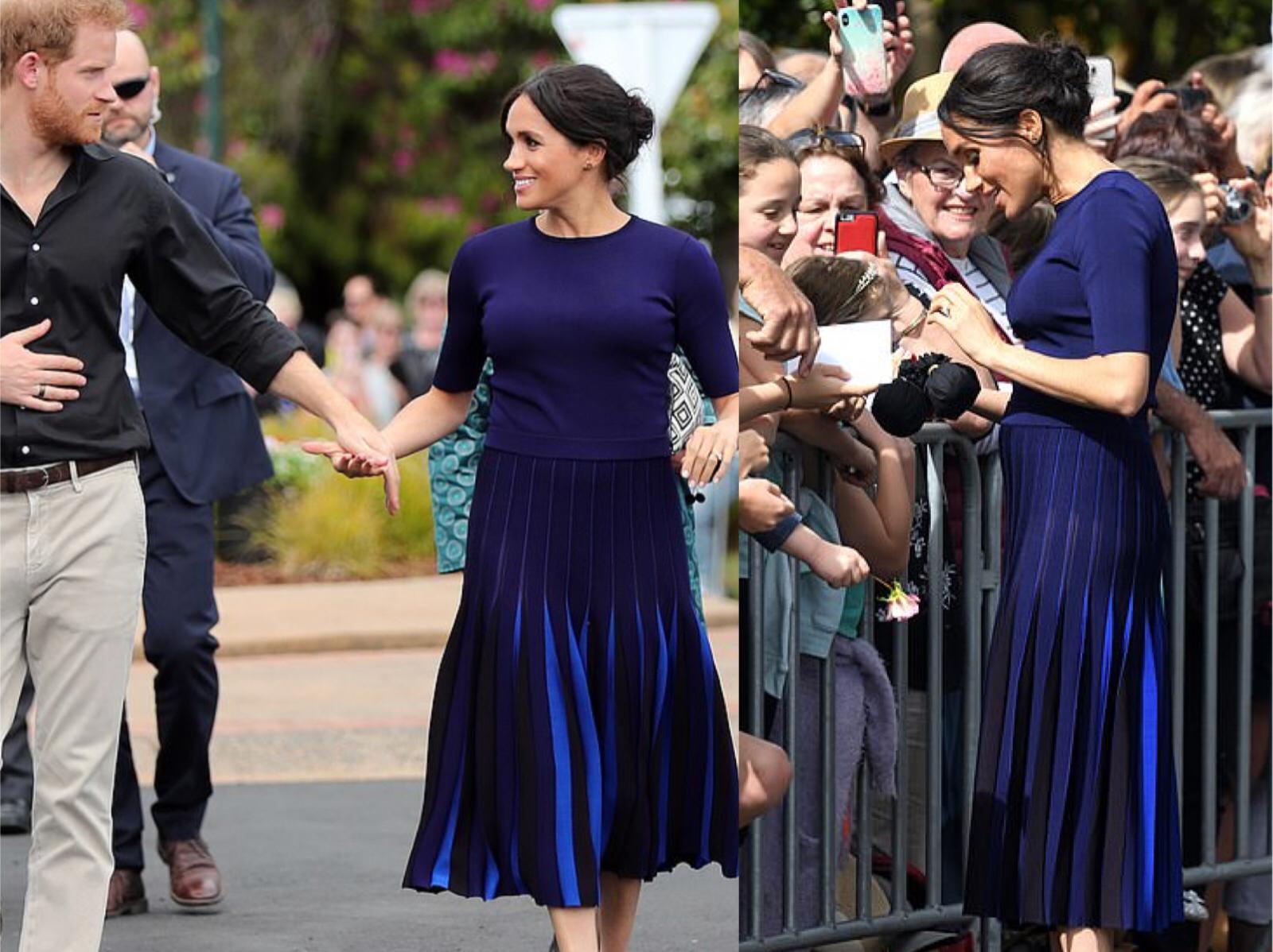 梅根出访最后一天竟穿半透视百褶裙,遭外媒批评,王室这么宽容?