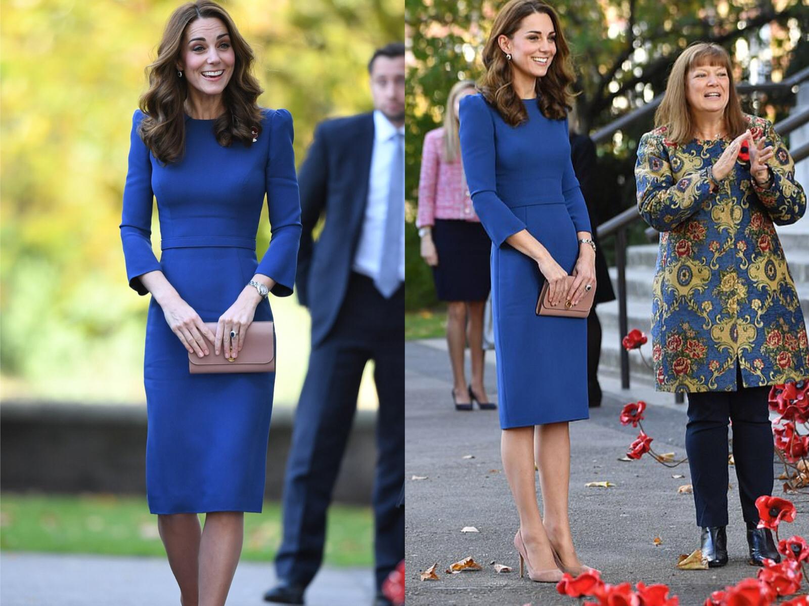 凯特王妃比A4腰还瘦,路易王子太难带?紧身蓝裙配波浪卷发好妩媚