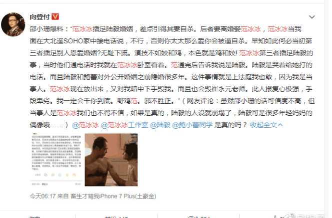 """邵小珊爆料: """"范冰冰插足陆毅婚姻, 报复性心强! 不光黑我, 还毁崔永"""