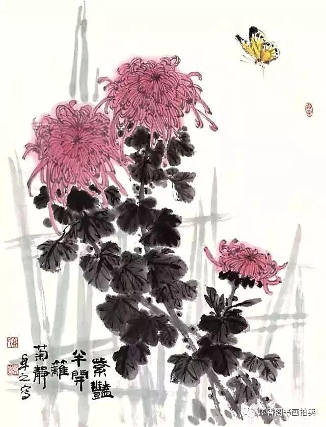 国画技法:写意菊花的画法及构图基本规律