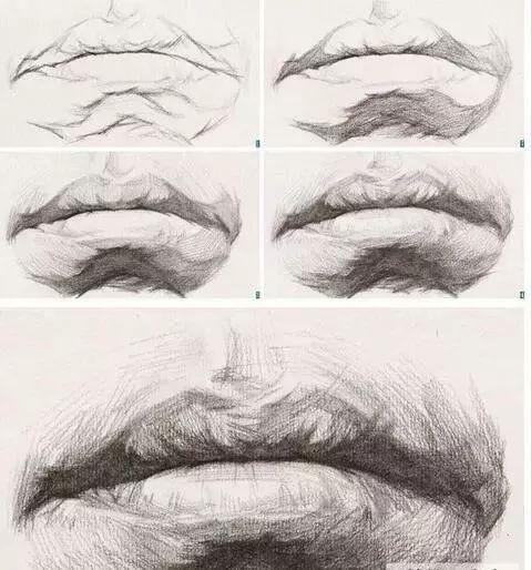 绘画教程   嘴巴素描板绘画法,结构是关键!