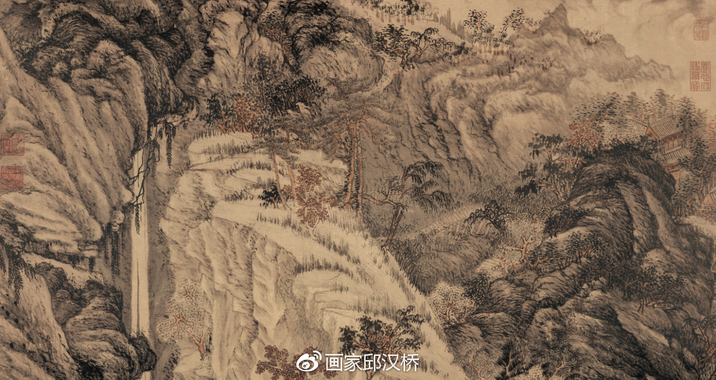汉桥话画:沈周《庐山高图》描绘庐山风景山水画