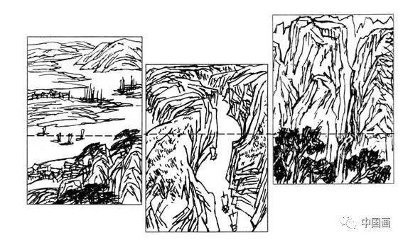 建筑俯视手绘漫画线稿