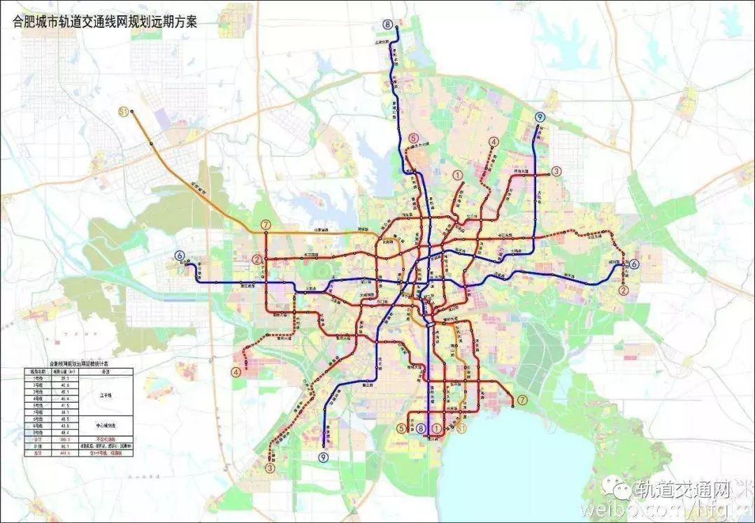 合肥市轨道交通(地铁)线网总体规划分为四个阶段