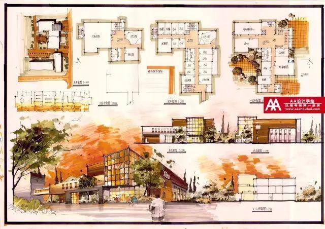 手绘作品展示 aa快题丨如何解决立面设计 aa分享丨19考研外国建筑史