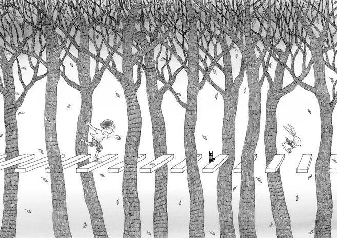 文化 正文  简洁的黑白线条,故事简单地诉说着一个小女孩在午后梦见图片