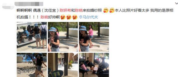 陈晓陈妍希马尔代夫拍婚纱照 相互依偎超甜蜜