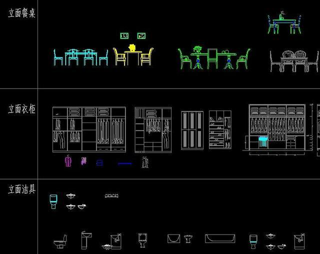 CAD平面 立面设计,最适合CAD初学者学习的图纸