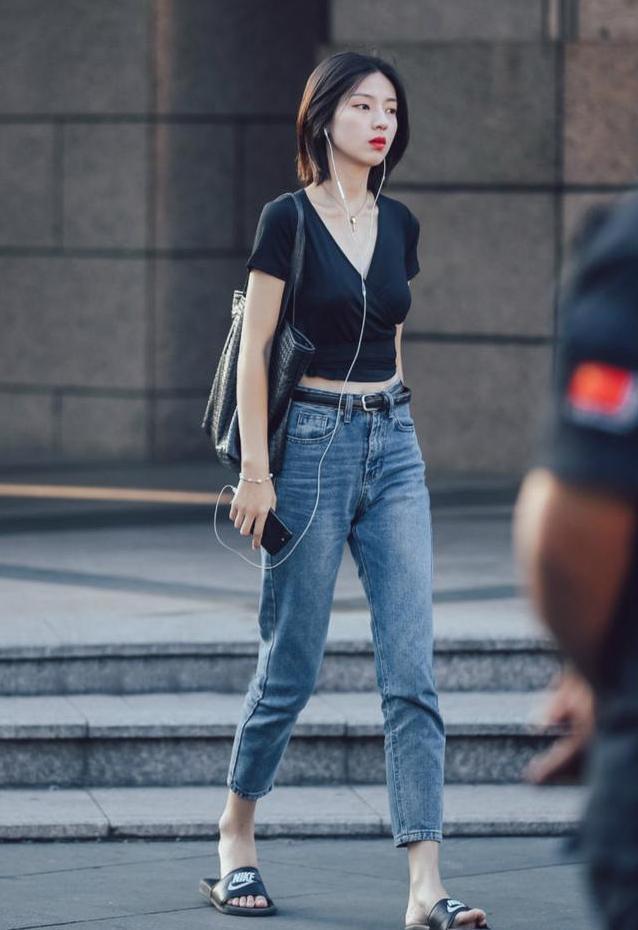 九分时尚牛仔裤女