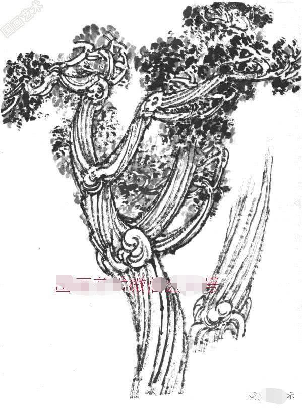 柳樹的畫法 春柳,特點是樹干向上長而枝條向下垂.圖片