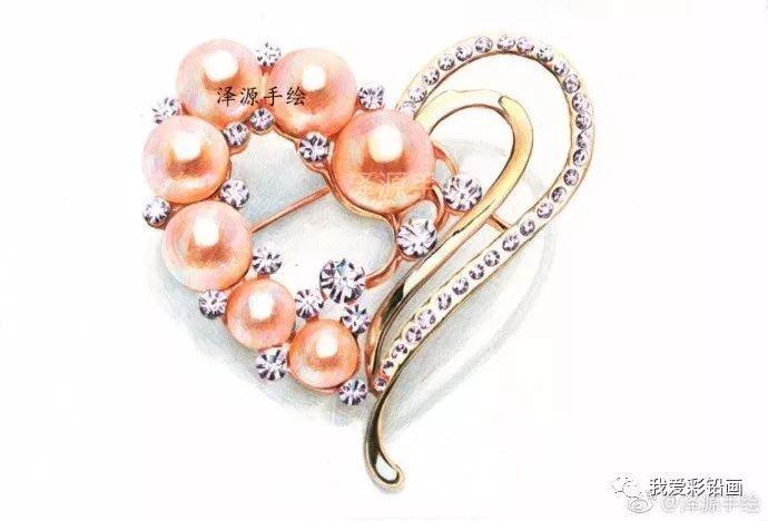 彩铅手绘珍珠钻石