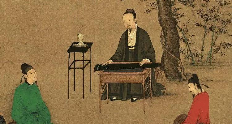 古风女子弹琴图片手绘